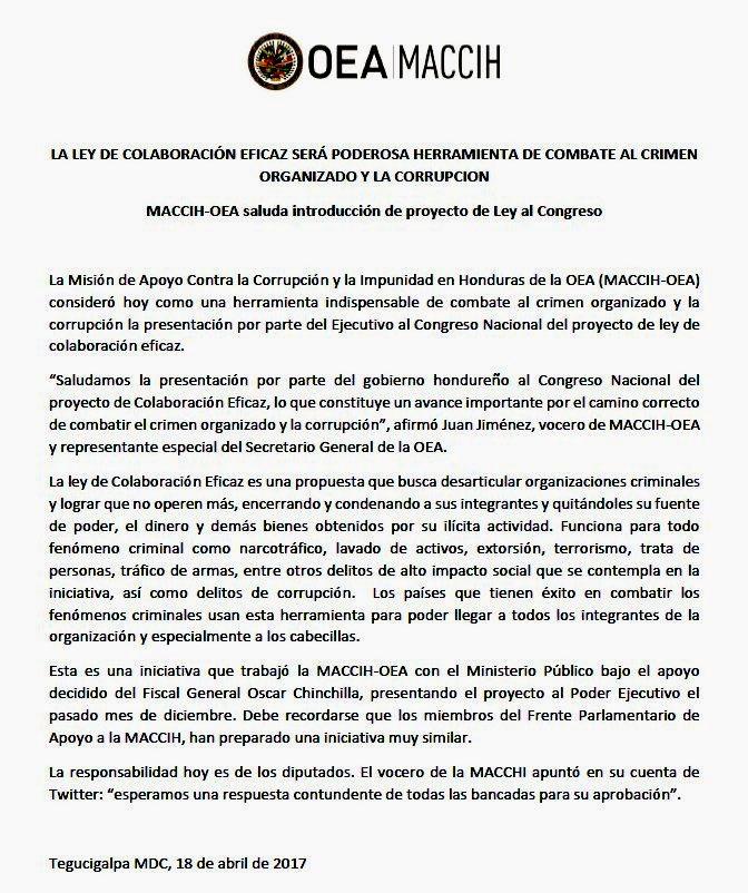 MACCIH Ley Colaboracion Eficaz