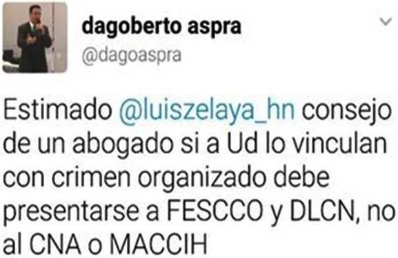 Consejo de Aspra a Luis Zelaya