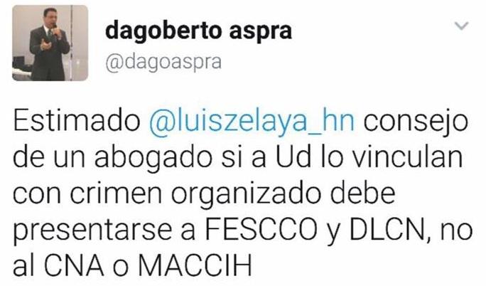 Tuit consejo de Aspra a Luis Zelaya
