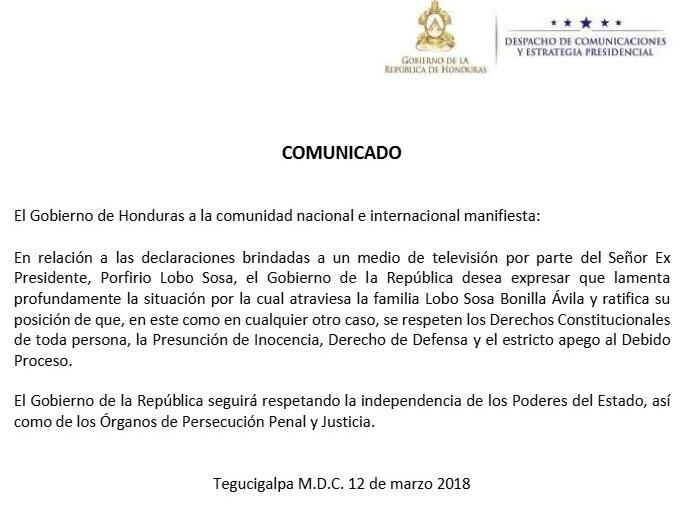 Comunicado Casa Presidencial