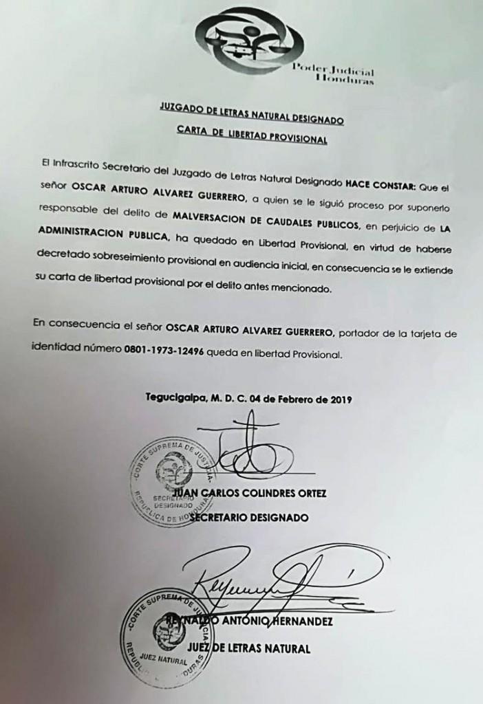 Carta de libertad Oscar Alvarez