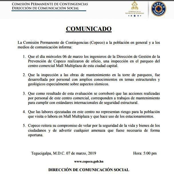Comunicado COPECO