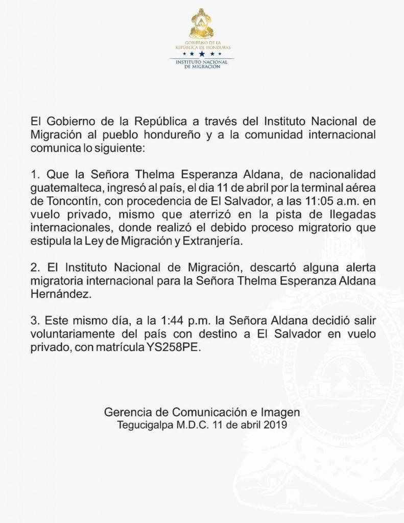Migracion Honduras tema Aldana
