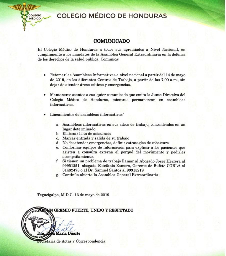 Comunicado Colegio Medico