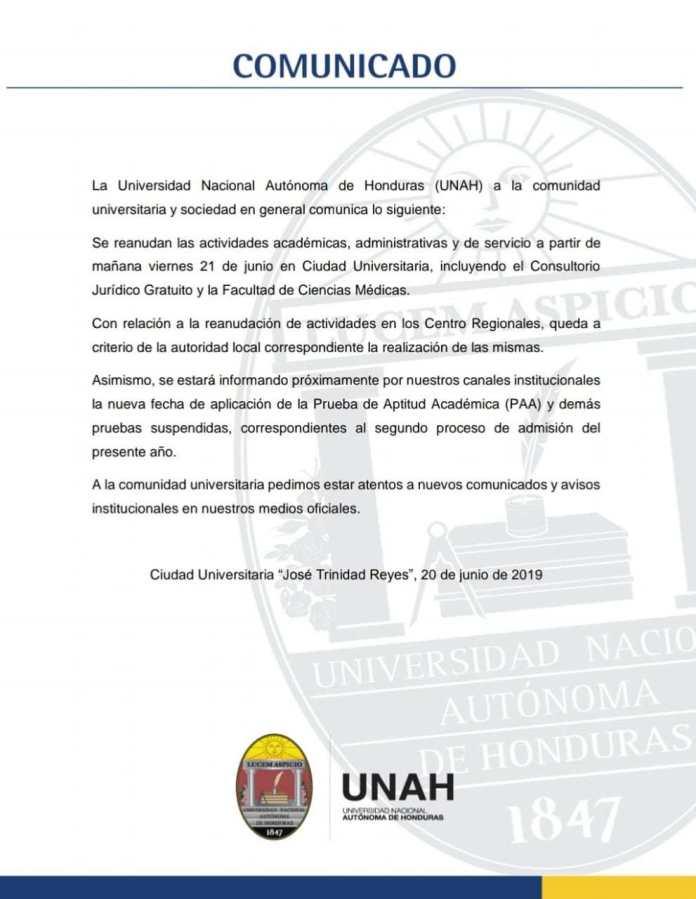 Comunicado UNAH