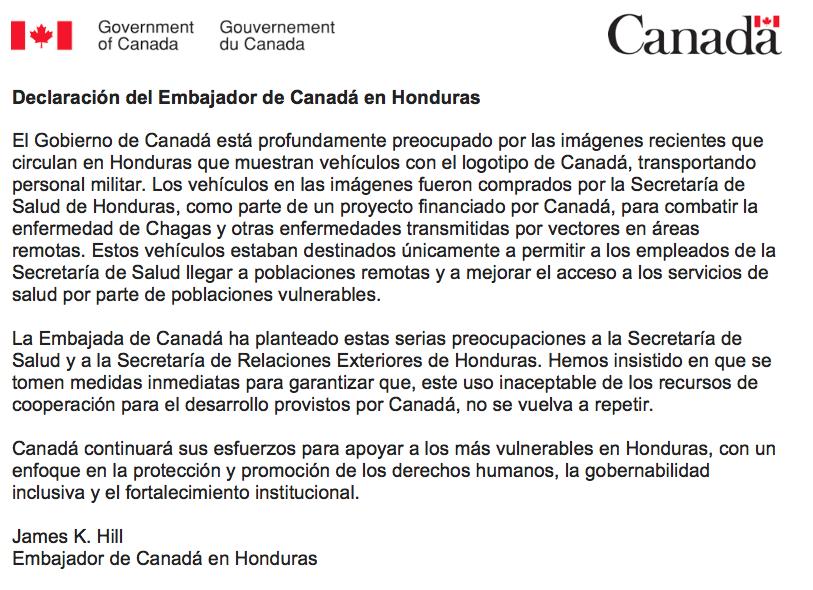 Declaracion Embajada Canada