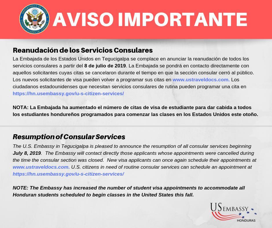 Aviso Embajada EEUU