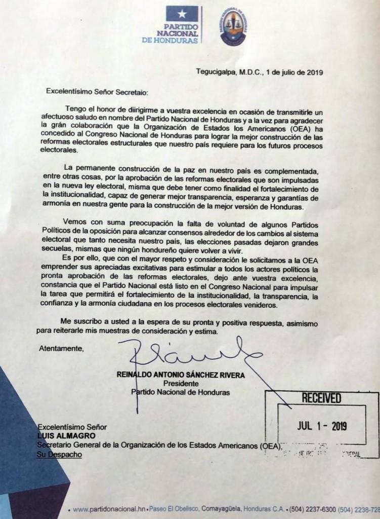 Comunicado Partido Nacional en OEA